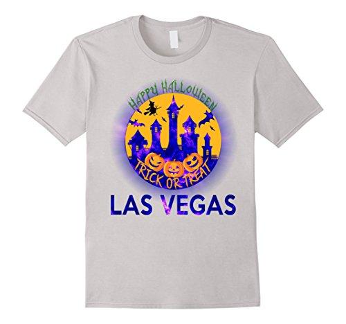 Mens Happy Halloween Trick Or Treat Las Vegas Nevada T Shirt Large Silver