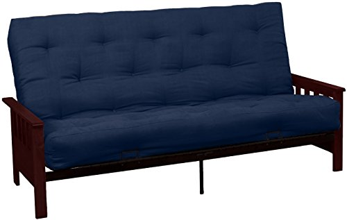 Epic Furnishings Berkeley 10-inch Loft Inner Spring Futon Sofa Sleeper Bed, Queen-size, Mahogany Arm Finish, Microfiber Suede Dark Blue Upholstery