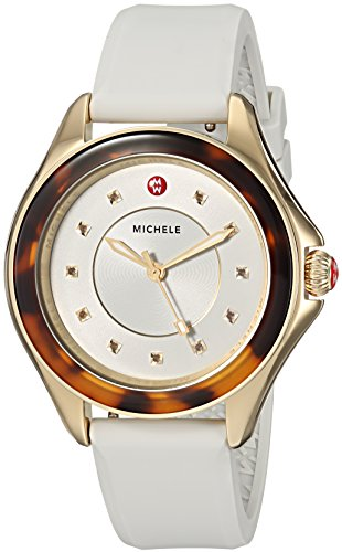 MICHELE Women's Cape Stainless Steel Quartz Watch with Silicone Strap, White, 18 (Model: - Watch Plated White Gold Wrist