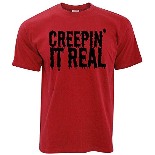 Divertente Ted Tim E It Halloween Rosso Real Scherzo Creepin' Maglietta q5qEBSFxw