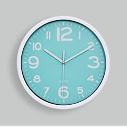 Candylight Candy Color Mute Quartz Wall Clock, Contemporary Household Vogue Contracted (Cyan)