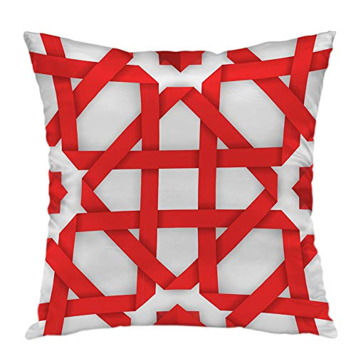 oFloral Pillow Covers Cases Red Interwoven Ribbons Pattern Pillowcase Decorative Square Cushion Cover Home Decor 18x18 inch
