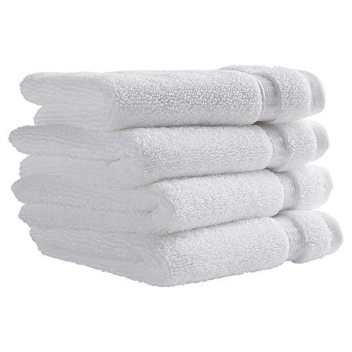 Rivet HygroCotton Cotton Washcloth Set, Set of 4, Bright White ()