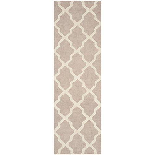 Safavieh Cambridge Collection CAM121J Handmade Moroccan Geometric Beige and Ivory Premium Wool Runner (2'6 x 6′)