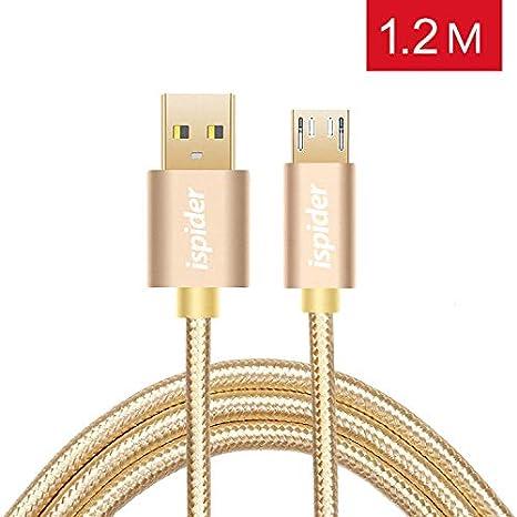 Cable Micro USB Cable de Cargador Android de Alta Velocidad Ispider 2.4A 1.2 Medidor - Cargador Triple avanzado de Nylon USB para Samsung Galaxy S6 S7 ...