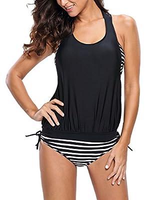 IF FEEL Womens Stripes Halter Tankini Top Sets Three Pieces Bathing Suit Swimwear