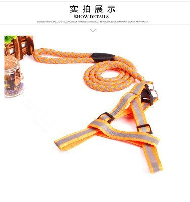 TLMY Pet Reflective Braided Traction Rope Dog Chain Chest Strap Pet Chain (color   orange, Size   M)