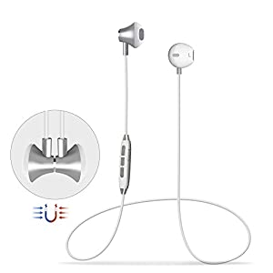 Wireless Headphones, Wireless V4.1 Magnetic Stereo Earphones, Suitable for Samsung Galaxy S9, IPX4 Splash Proof Noise Cancelling with HD Mic for Running and Sport - White