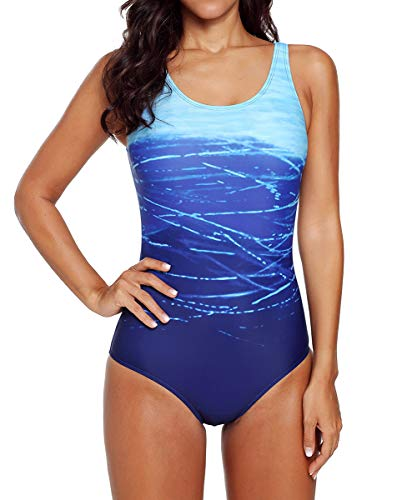 Vintage Swimsuit for Women Summer One-Piece Monokini Beachwear Gradient Printed Crisscross Slimming Novelty Swimwear Blue S