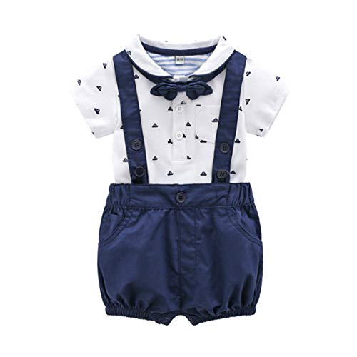 Baby Boys Gentleman Outfits Suits, Infant Short Sleeve Shirt+Bib Pants+Bow Tie Overalls Clothes Set,3-6M Deep Blue