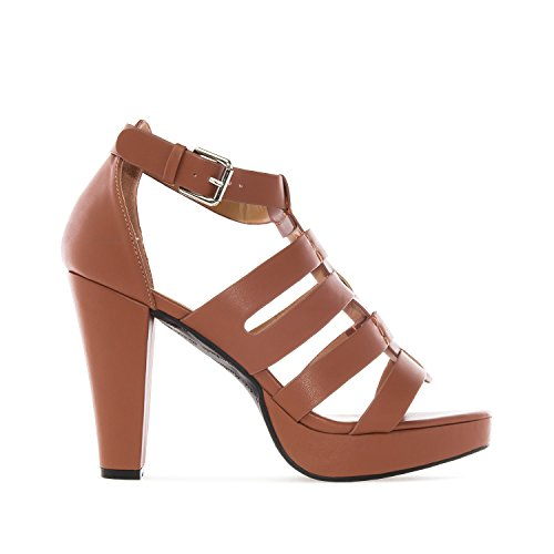 Andres Machado AM5160.Multi Strap Sandals In Faux Leather.Petite&Large Sizes: UK 0.5 To 2.5/EU 32 To 35 - UK 8 To 10.5/EU 42 To 45. Brown faux Leather izFB6hiLpi