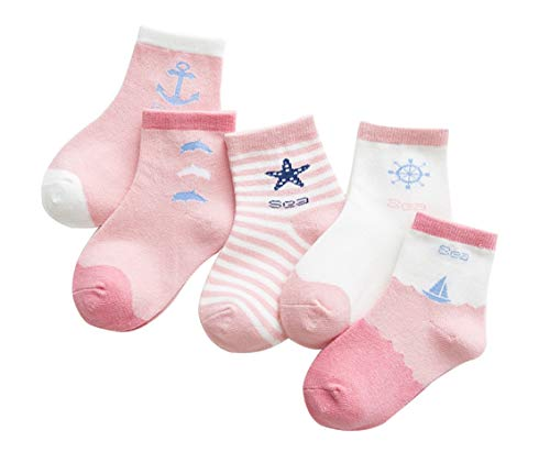 5 Pairs Kids Socks, Girls Cotton Crew Socks, Sea Theme, Summer Spring, Pink Athletics, Sea Theme 9-12 Years]()