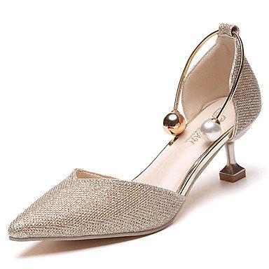 pwne Sandalias De Mujer Zapatos Club Pu Vestidos Primavera Verano Imitación Perla Gatito Talón Plata Oro 2A-2 3/4 Pulg. US5 / EU35 / UK3 / CN34