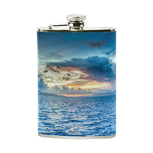 Island Paradise Leather - Steel Stainless Flask,Holiday Paradise Island Leather Pocket Funnel with Screw Top,Liquor Alcohol Whiskey Classic Hip for Men,8 OZ