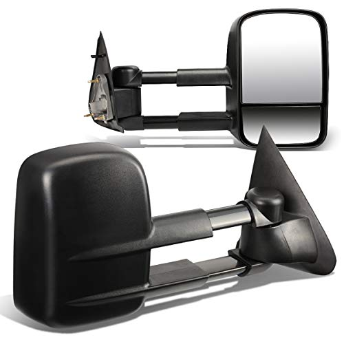 For Ford F150 F250 Pair of Black Textured Telescoping Manual Extenable Side Towing Mirrors ()