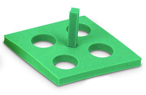 Heathrow Scientific HD2165A Polypropylene Diamond Floating Foam Tube Rack, 4 Tubes, Green (Pack of 5)