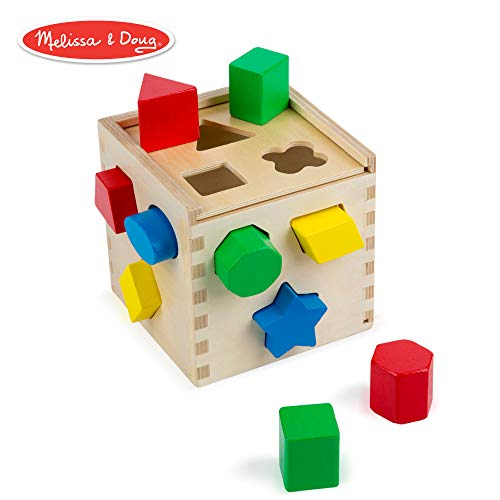 (Melissa & Doug Shape Sorting Cube Classic Wooden Toy, Developmental Toy, Easy-to-Grip Shapes, Sturdy Wooden Construction, 12 Pieces, 5.5″ H × 5.5″ W × 5.5″)