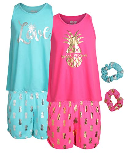 Sleep On It Girls 4-Piece Pajama Tank Top and Short Set with Matching Scrunchies (2 Full Sets), Love, Size - Girls Pajamas Tank