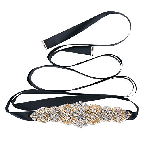 Tendaisy Women's Bridal Belt Rhinestone Wedding Sash Belts with Crystal Beads Pearls for Dresses and Gowns(Gold-Black)