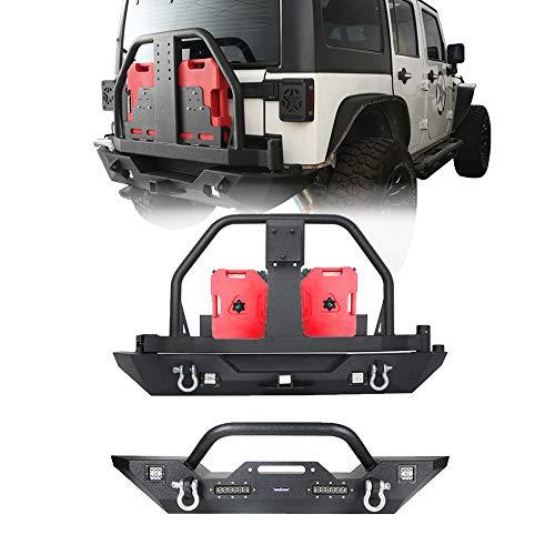 (Hooke Road Jeep Wrangler Front & Rear Bumper w/Spare Tire Carrier & Oil Drum Rack for Jeep Wrangler JK 2007-2018)