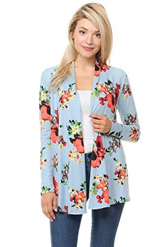 Pastel Cute (Pastel by Vivienne Women's Long Sleeve Jersey Cardigan Small Floral Sky Blue)