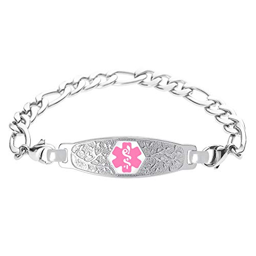 - Divoti Custom Engraved Medic Alert Bracelet, Stainless Steel Medical Alert Bracelet for Women, Medical ID Bracelet w/Free Engraving - Beautiful Olive Tag w/Figaro-Pink-8.0