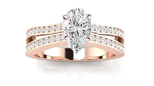 0.83 Carat 14K Rose Gold Contemporary Double Row Split Shank Pear Shape Diamond Engagement Ring (I Color SI1 Clarity Center Stones) 0.83 Ct Pear Diamond
