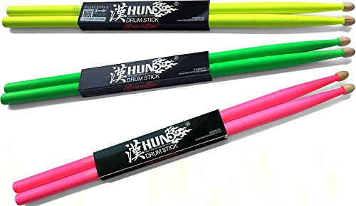 American Fluorescent Et Series (Tempi Fluorescent Drum Sticks for Drummers American Hickory Size: 5A | 1 PAIR (Neon Pink))