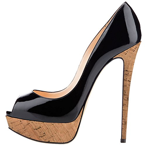 Stiletto Black Woods (MERUMOTE Women's 013 Stiletto Heel Wood Platform Peep Toe Dress Wedding Pumps Wood-Black 9 US)