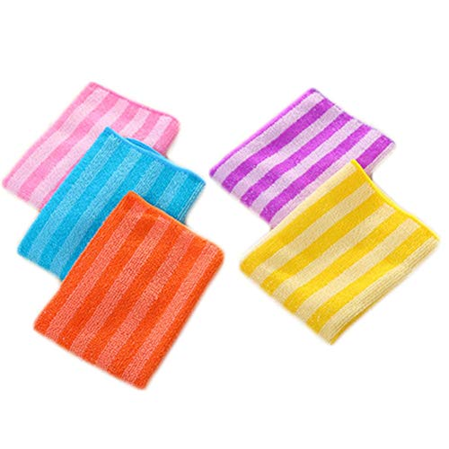 KuteStore Bamboo Fiber Towels 2019, 5pcs/Set Efficient Anti-Grease Color - Microfiber Towel, Bamboo Dish Cloth, Bamboo Cleaning Cloths, Microfiber Rags in Bath Products, Dish Washing Cloths