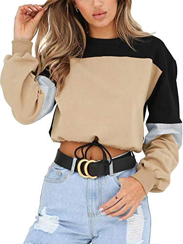 Angashion Womens Sweatshirt-Long Sleeve Drawstring Hem Color Block Crop Top Pullover Tops Khaki M (Crop Tops For Winter)