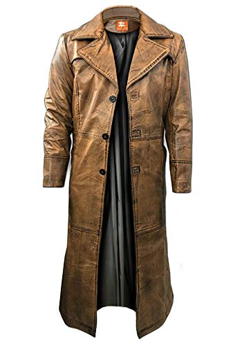 Brown Trench Coat, Distressed Leather, Vintage Style, Below Knee Long Coat, Original Lambskin Leather (XL, Brown distressed)