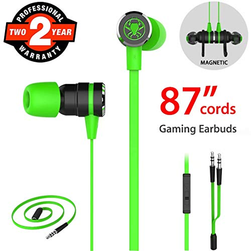 Gaming Earbuds, Noise Isolating Stereo Bass In Ear Headphones with Microphone 86 Inch Long Cord Extension Cable PC Adapter Magnetic Headset Earphones for Computer, iPhone, Samsung, Laptop, PSP - Green
