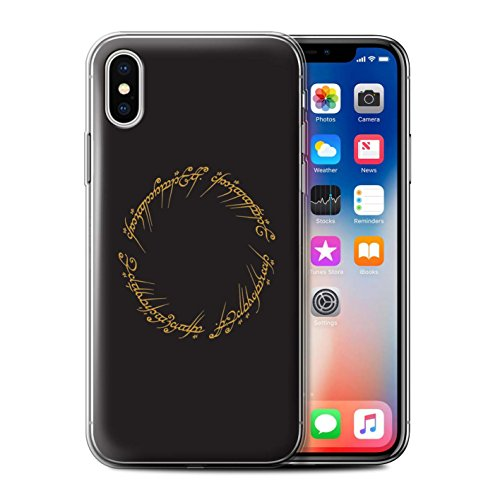 Phone Case for Apple iPhone X/10 LOTR Fantasy Inspired The One Ring Design Transparent Clear Ultra Soft Flexi Silicone Gel/TPU Bumper Cover (Lord Of The Rings Wallet Phone Case)