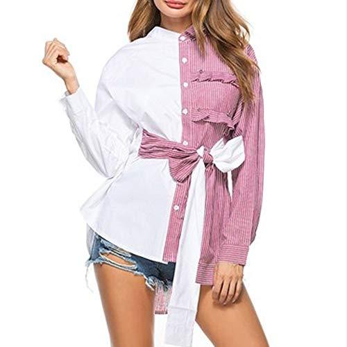 Abajo Blusa Mujer Larga Botón Manga Ysfu De Camisa Ropa Camisas Patchwork Tops 61wqYnv