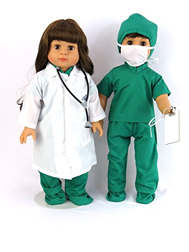 Doctor or Nurse 7 pc Set | 18 Inch Doll Clothes | Complete with White Doll Lab Coat, Face Mask, Medical Green Shoe Covers, Cap, Stethoscope, and Scrubs