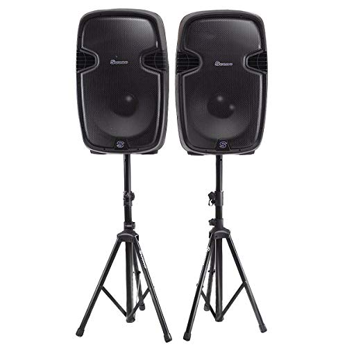 Costway Dual 12 Inch 2-way 2000Watts Powered Speakers with Bluetooth, Mic, Speaker Stands, Control Cables