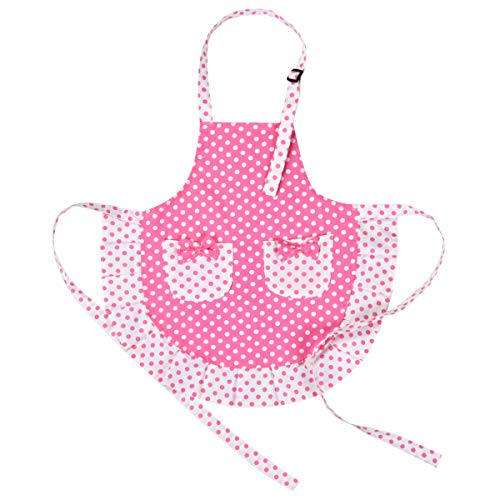 Sevenstars 100% Cotton Kids Girls Aprons with 2 Pockets, Pink Children Apron Polka Dots Apron Cute Baking Apron Adjustable Kitchen Aprons for Children Daughters ()