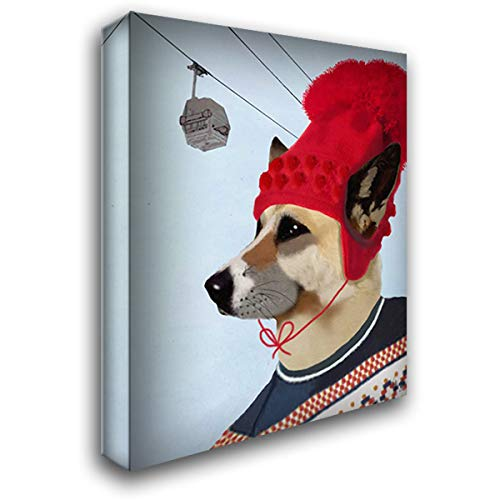 Dog in Ski Sweater 20x24 Gallery Wrapped Stretched Canvas Art by Fab Funky