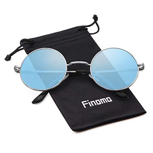 y retro sol de Circle hombres Azul Lente Plata con redondas para UV400 marco metal Vintage Finomo de Marco Gafas mujeres lente wIxPFP