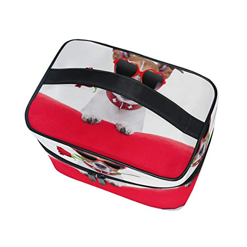 Cosmetic Day Rose Jack Russell Large Travel Organizer Double Toiletry Bag