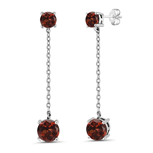 Gem Stone King 3.70 Ct Round Red Garnet Gemstone Birthstone 925 Sterling Silver Long Dangle Earrings (40MM = 1.5 INCH)