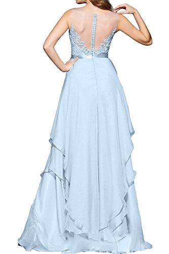 gedeckt Applikation Tuell Ballkleid lang Lilac Herzform Partykleid Spitze Aermellos Damen Guertel Abendkleid Knopf Elegant Chiffon Ivydressing Y86HPx