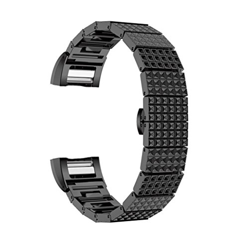 Price comparison product image Longay Replacement l Quick Release Silicage Band Strap Fashion Stainless Steel Watch Bracelet Band Strap For Fitbit Charge 2 Watch (Black)