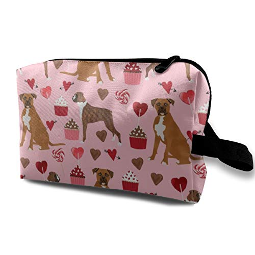 Funny 3D Printing women cosmetic bag Boxer Dog Valentines Love Fabric Cute Hearts Cupcakes Dog Love Fabric_1116 Travel Makeup Bags 4.9 x 6.3 x 10 inch