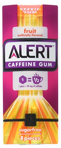 5 Gum Alert Caffeine Mint Gum, 8 Piece Single Pack, 8 Count