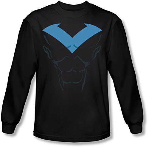 Authentic Nightwing Costumes (Batman - Mens Nightwing Costume Longsleeve T-Shirt, Large, Black)