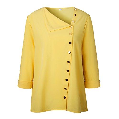Chemise Manches Chemise Mousseline Longues Tops Chic V Irrgulire Femme ZIYYOOHY en des Soie Jaune Shirt Bouton T de Neck CFSqwgBn