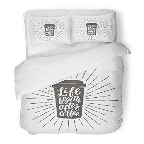 Emvency Bedding Duvet Cover Set Twin (1 Duvet Cover + 1 Pillowcase) Monochrome Vintage Cup Silhouette with Lettering Life Begins After Coffee to Go Hotel Quality Wrinkle and Stain Resistant