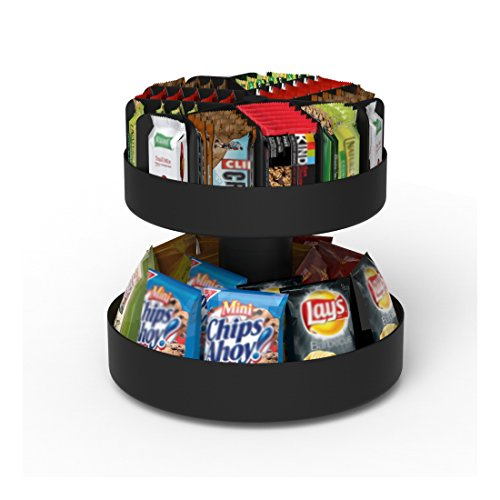 Mind Reader 'Supreme' Lazy Suzan 2 Tiered Breakroom Snack Organizer, Black ()